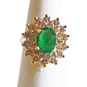 Emerald & Diamond Ring in 14k Yellow Gold ~ circa late 1980's
