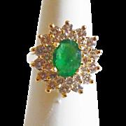 Emerald & Diamond Ring in 14k Yellow Gold ~ circa late 1980's