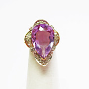 Genuine Amethyst & Diamond Ring ~ circa 1970's