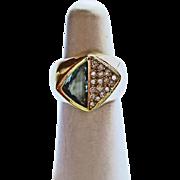 Aquamarine & Diamond Ring in 18k YG ~ circa 1late 1980's