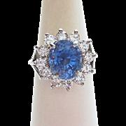Genuine Sapphire & Diamond DInner Ring ~ circa  late 1980's