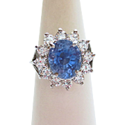 Genuine Sapphire & Diamond DInner Ring ~ circa  late 1980's