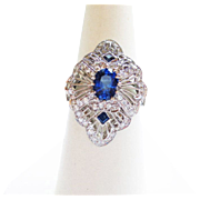 Genuine Sapphire & Diamond Ring in Platinum ~ circa 1980's