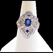 Genuine Sapphire & Diamond Ring in Platinum ~ circa 1980's