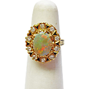 Genuine Opal & Diamond Ring  in 14k Yellow Gold~ circa 1970's