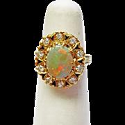 Genuine Opal & Diamond Ring  in 14k Yellow Gold~ circa 1970's