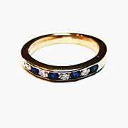 Two Tone 14k Gold Wedding Ring with Sapphires and Diamonds
