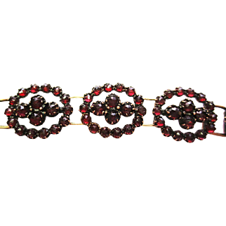 Rose Garnet Bracelet in Gold ~ circa 1920's