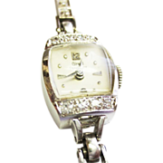 Girard Perregaux Diamond Watch  in 14k White Gold ~ circa 1940's
