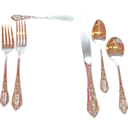 """12 Piece Place Setting of Wallace Sterling """"Rose Tip"""" Flatware ~ circa 1934"""