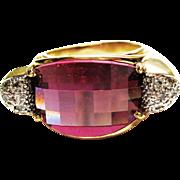 Genuine Amethyst & Diamond Ring in 14k YG~ circa 1980's