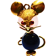 Lapis Lazuli and Quartz Mouse Charm in 18k Yellow Gold ~ circa 1960's