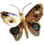 Enameled Butterfly Pin in 18k Yellow Gold  circa 1960's