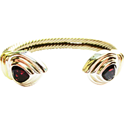 David Yurman Gold & Silver Cuff with Garnet Accent ~ circa 1980's
