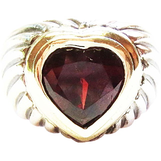 David Yurman Heart Heart Shaped Ring with Garnet ~ circa 1980's