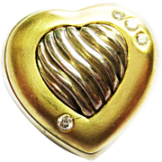 David Yurman Heart Pin in Two Tone Metal ~ circa 1980's