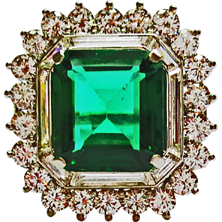 Chatham Emerald & Diamond Ring ~ circa 1950's