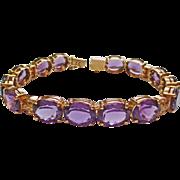 Genuine Amethyst & Diamond Bracelet in 14k YG ~ circa late 1980's