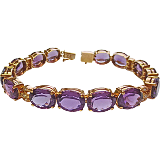 Genuine Amethyst & Diamond Bracelet in 14k YG ~ circa late 1980's