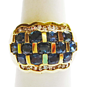 Sapphire & Diamond Ring in 18k YG ~ circa 1970's
