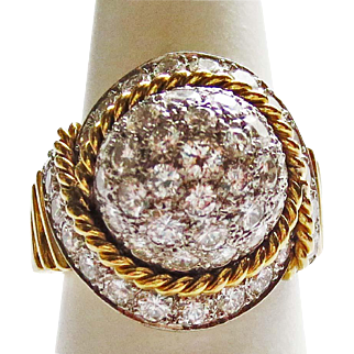 Snowball Diamond Ring in 18k Yellow Gold & Platinum ~ circa 1960's