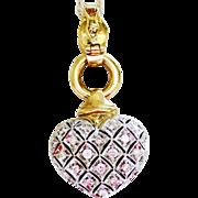 Diamond Pendant Heart in 18k Two Tone Gold  ~ circa 1970's