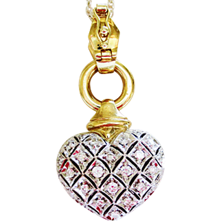 Diamond Pendant Heart in 18k Two Tone Gold  ~ circa 1970's