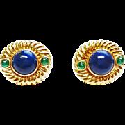 Lapis & Emerald Earrings in 14k Yellow Gold ~ circa 1970's
