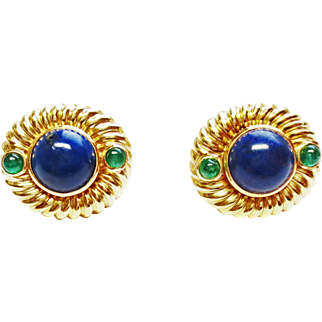Lapis & Emerald Earrings in 14k Yellow Gold ~ circa 1970's