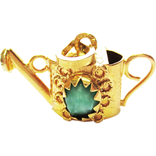 Vintage 18k Yellow Gold Charm with Turquoise ~ circa