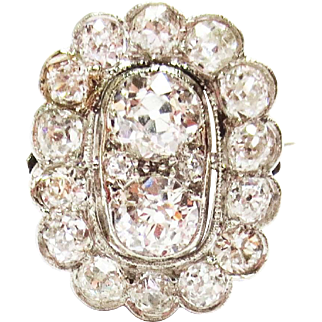 Diamond Dinner Ring in Platinum ~ 1930's