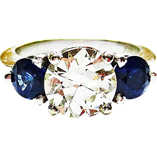 Diamond & Sapphire Ring in 14k White  Gold ~ late 1980's