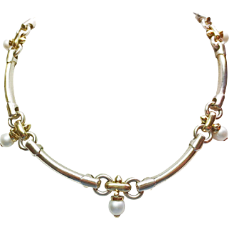 18k Yellow Gold & Sterling Pearl Necklace ~ circa mid/late 1980's
