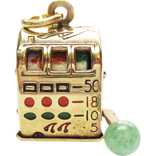 Articulted Slot Machine Charm in 14k Yellow Gold ~ Circa 1960;s