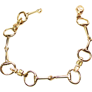 14k Yellow Gold Horse Stirrup Bracelet ~ early 1990's