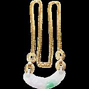 Diamond & Genuine Jade Pendant in 18k Yellow Gold ~ early 1990's