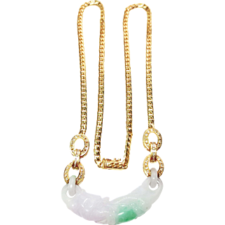 Diamond & Genuine Jade Pendant in 18k Yellow Gold ~ early 1990's