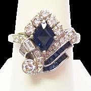 Sapphire & Diamond Ring ~ circa 1930's