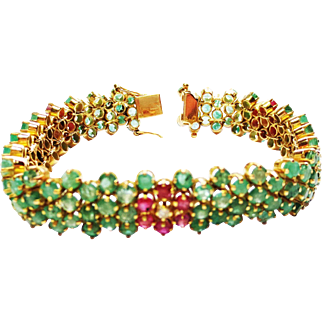 Emerald, Ruby, and Diamond Bracelet ~ circa 1950's