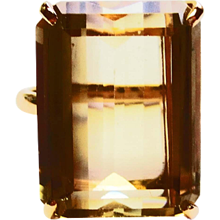 Emerald Cut Smoky Topaz Ring in 14k Yellow Gold ~ circa late 1960's