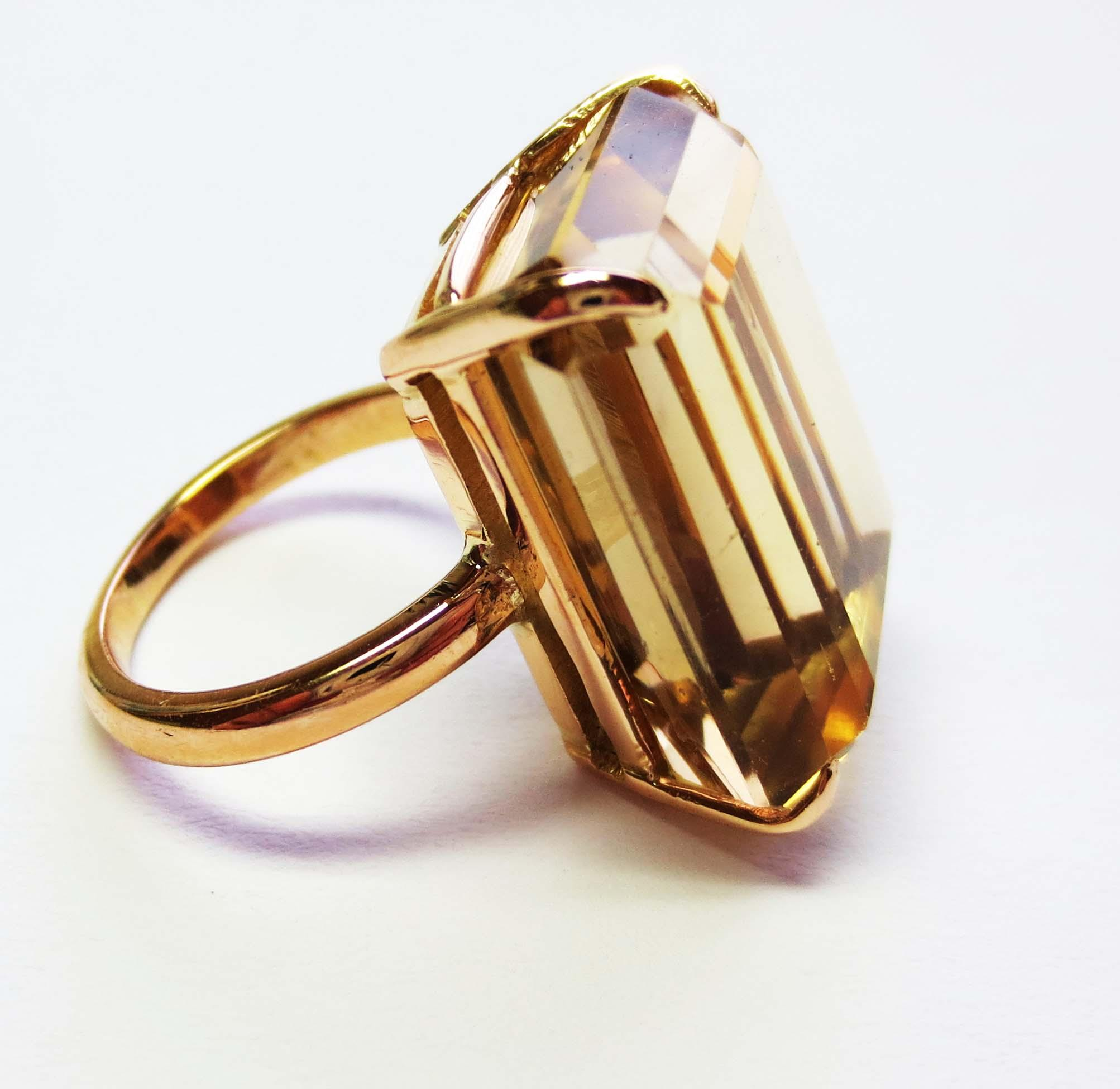 Emerald Cut Smoky Topaz Ring in 14k Yellow Gold circa late