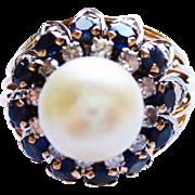 Vintage Design Pearl, Sapphire and Diamond Ring ~ circa 1950's