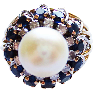 Vintage Design Pearl, Sapphire and Diamond Ring ~ circa 1950's