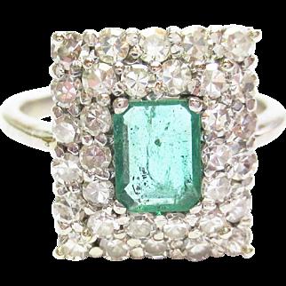 Genuine Emerald & Diamond Ring ~ Circa 1960's