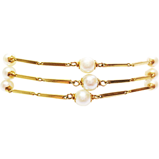Cultured Pearl Bracelet in 18k Yellow Gold ~ 1950's