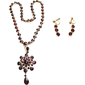 Genuine Rose Garnet Parure ~ circa early 1900's