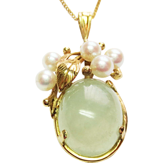 Natural Jade and Cultured Pearl Pendant in 14k Yellow Gold ~ circa late 1950's