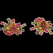 Multi Gemstone Earrings in 18k Yellow Gold ~ circa 1950's