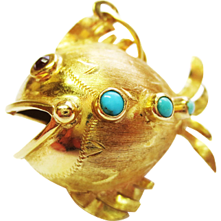 Turquoise & Ruby Fish in 18k Yellow Gold ~ circa 1950's