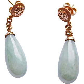 Genuine Jade Earrings in 14k Yellow Gold ~ circa 1950's